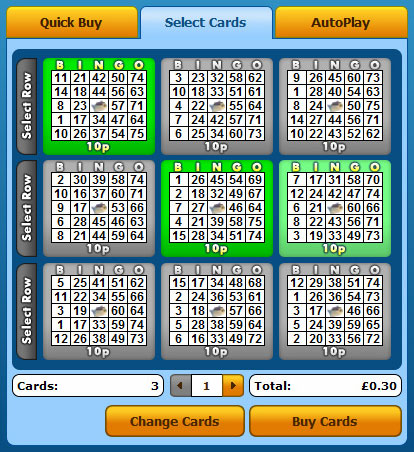 selecting king jackpot 75 ball bingo cards