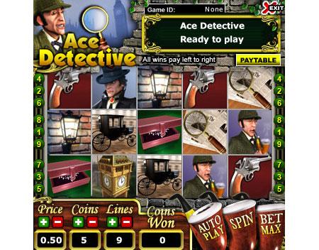 king jackpot ace detective 5 reel online slots game