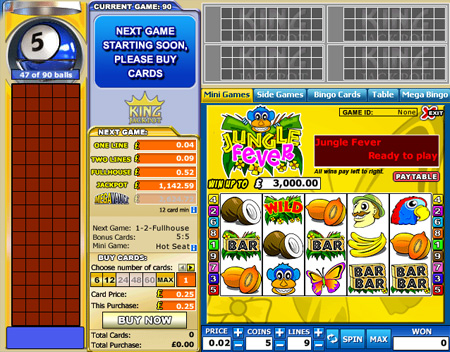 king jackpot 90 ball online bingo game