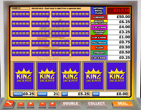 king jackpot deuces wild video poker online casino game
