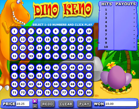 king jackpot dino keno online casino game