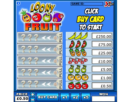 king jackpot loony fruit online instant win game