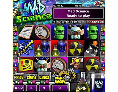 king jackpot mad scientist 5 reel online slots game
