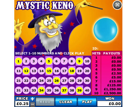 king jackpot mystic keno online instant win game