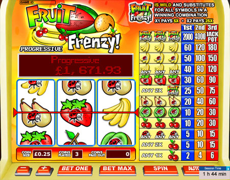 king jackpot fruit frenzy 3 reel online slots game