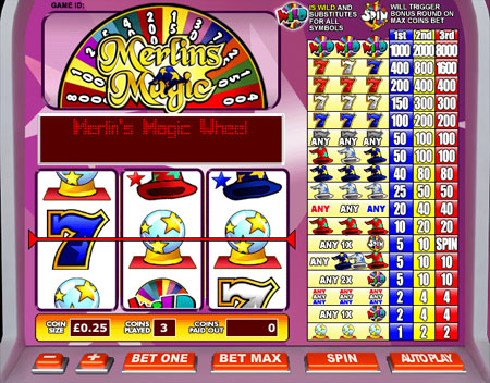 king jackpot merlins magic 3 reel online slots game