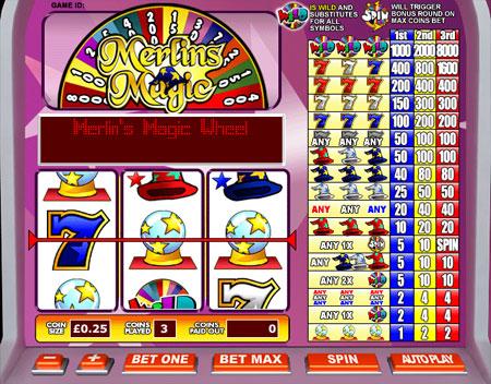 king jackpot merlins magic 3 reel online slots game