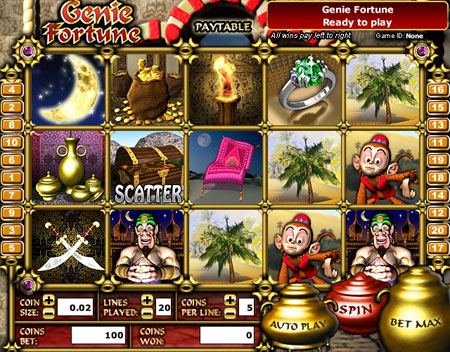 king jackpot genie fortune 5 reel online slots game