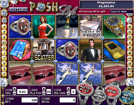king jackpot posh life 5 reel online slots game
