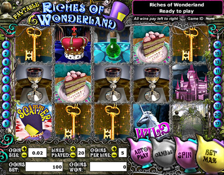 king jackpot riches of wonderland 5 reel online slots game