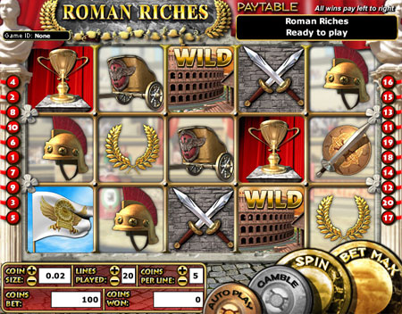 king jackpot roman riches 5 reel online slots game